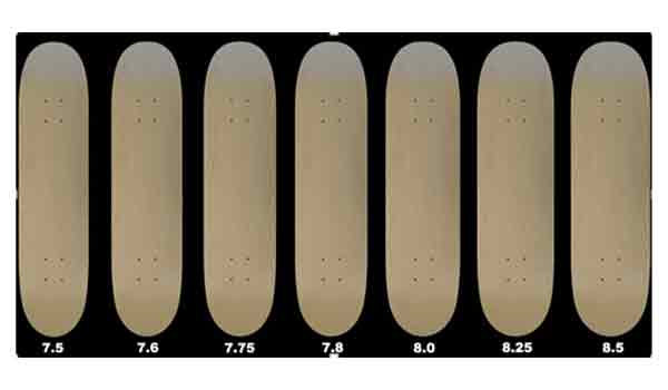 skateboard board size
