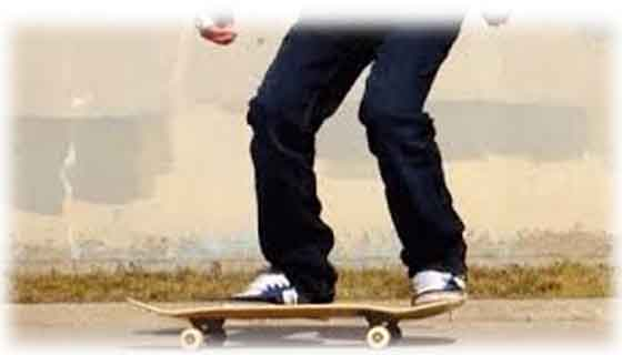 The first step of old school kickflip