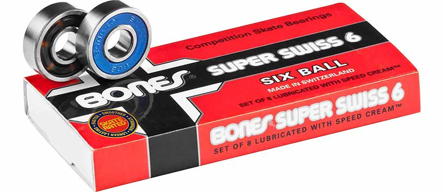 Bones Super Swiss 6 Skateboard Bearings 8 Pack