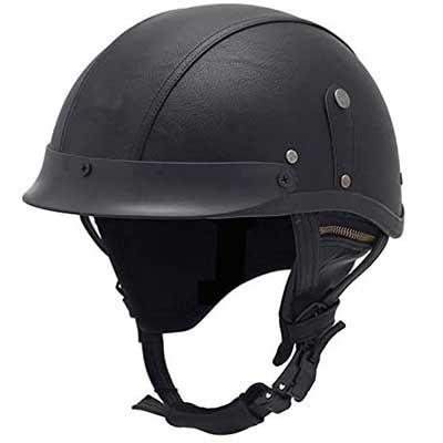 Woljay Leather Motorcycle Vintage Half Helmets Biker Cruiser Scooter Touring Helmet (Black)