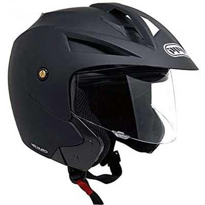 MMG Model 20 Motorcycle Open Face Helmet DOT Street Legal - Flip Up Clear Visor - Matte Black